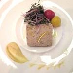 16825503 - 蔵王土鶏と築館産椎茸のテリーヌ仕立て                       スプラウトのサラダとミニトマトのピクルス添え