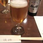 淡路 - 瓶ビール、グラスでくぴっと。