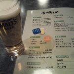寿 - 生ビール、モルツなんですけど(泣)(450円)。