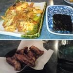 寿 - 豚キムチ、韓国海苔に手羽唐だったかな?