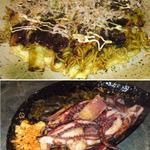 寿 - モダン焼にゲソ塩焼。