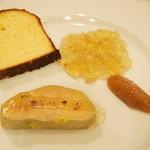 OGINO Red&Green Restaurant - 蜂蜜の中で火を入れた鴨のフォアグラ ブリオッシュ添え(2500円・2012/11)