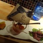16872144 - 前菜3種盛り合わせ ( 京野菜の おばんざい ・あばれだこのトマト煮 ・ローストビーフのバルサミコソース )
