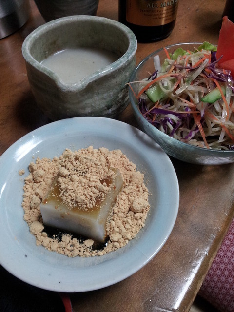 専心庵 - 蕎麦湯、そばサラダ、デザート2013,1