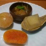16877867 - 海鼠、手鞠寿司、からすみと蕪