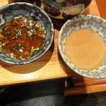 魚三郎 新松戸直売所 - 季節野菜のせいろ蒸し599円のたれ