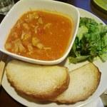 16923069 - チキンとトマトのスープ(サラダとパン付き)750円?