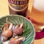 割烹 若竹 - お通しで大瓶ビール