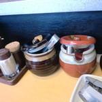 麺堂 香 - 紅しょうがやニンニク(クラッシャー)もあり