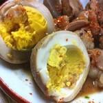 河本 - 煮込玉子も実に良く味が良く滲みている