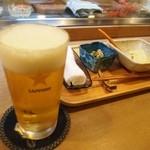 寿司竜 - 生ビール & 付き出し