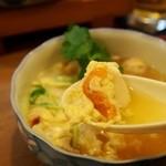 寿司竜 - ホタテと雲丹の玉子とじ