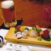 Sushiawaji - 料理写真:夕暮れセット(飲み物2杯、小鉢、お造り)2500円     17時~19時限定