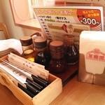 萬壽園 - テーブルの上の調味料類。