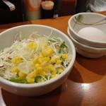 東京チカラめし - サラダ&生玉子