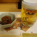 なごみ - 料理写真:生ビール(500円)、お通し