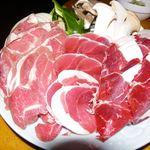 聚楽 創 - ジビエ焼き肉三種盛り(熊、イノシシ、羊)