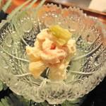 あざぶ 一期 - お通し① 蟹・蕗・筍の白和え ○