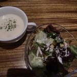 17049585 - ランチセットのスープ、サラダ