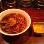 陶カフェ - そば(350円)+げそ天(100円)+生卵(50円)