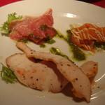 17083047 - 前菜・チキンハム、スモークサーモン、プロシュウトのバジルソース
