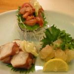 西村 - 料理写真:刺身(タコ・赤貝・伊勢えび)