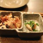 鉄板焼さくら - お通し (サラダ茄子のおひたし と ささ身の吟醸漬け) (2013/02)