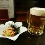 十和田はつ花 蕎麦&ワイン居酒屋 - 料理写真:お通しの鳥わさと生ビール