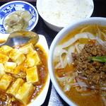顧の店 刀削麺 - 半坦々刀削麺、麻婆豆腐、半ライス