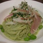 マーケットレストランAGIO - 生ハムと枝豆グリーンソース冷製カッペリーニ