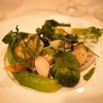 ビストロ キフキフ - 帆立貝のローズマリー風味ソテーと冬野菜のサラダ バジルソース