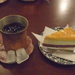 17166204 - ケーキセット(マンゴーケーキとアイスコーヒー)