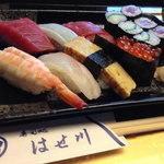 寿司処はせ川 - ランチ:にぎり寿司1575円小鉢味噌汁付 2013.2.3撮影