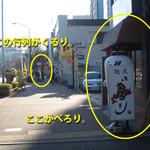麺屋べろり - 飯田橋側から見た光景。