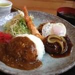 焼肉・音琴 - トルコライス 1000円 焼肉屋さんのトルコライス。ミニハンバーグやミートソースのお肉がおいしい(>∀<●)ノ  焼肉を食べてみたい…