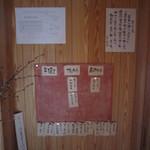 一東菴 - 入り口の蕎麦の産地の表示