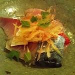 そばきり典座 - 刺身(シメサバと金目鯛)