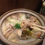 そば酒房 蕎麦しん - 牡蠣鍋、一人前をペロリ(^^)一人でも頼めるのが嬉しい。