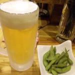 17213726 - 生ビールとお通しの枝豆