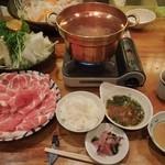 はま - 黒豚しゃぶしゃぶ定食(これにうどん・豆腐・わかめ付)