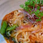 1724390 - アスパラとイタリア生ハムのトマトスパゲティ