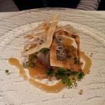 17259546 - ディナーコース ① 鯵のカルパッチョ風な感じ。上のパイがパリッとして美味しい~!