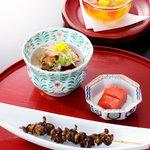田舎庵 - コース前菜とデザート(例)