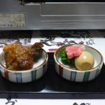 銀波亭 - 料理写真:付き出し・竜田揚げ