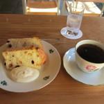 Cafe 傳 - チョコチップシフォンケーキと珈琲