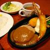 シャルドン - 料理写真:シャルドン定食1380円。手造りのカニクリームコロッケ・ジャンボサイズの有頭エビフライ・180gのデミグラハンバーグ・自家製タルタルソース添え・サラダ&スープ(パンorライス付)ボリューム大で人気です!!