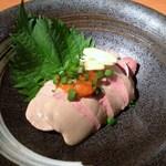 焼き鳥と野菜串のCOCOZO - 新看板! 「白レバぽん酢」低温でゆっくり熱を通して、紅葉おろしと、にんにくスライスで召し上がれ504円