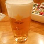貝や しるひ - 生ビール:オープン記念で100円×2杯いただきました