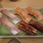富梅 - 2013.02.15 カンパチ、炙り穴子、炙りサーモン