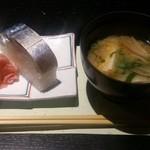 乃味芳 - 〆の鯖寿司とお味噌汁。 脂乗っていて非常に美味!